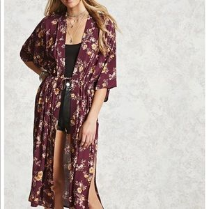 Forever 21 Belted Woven Belted Kimono
